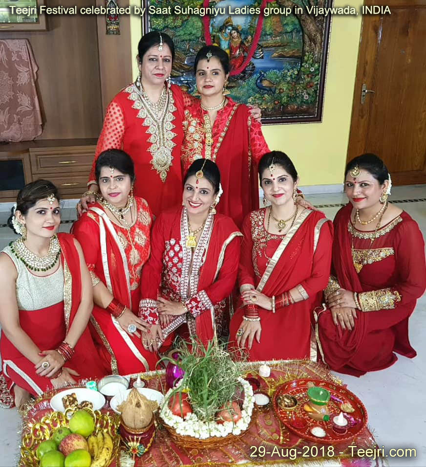 Teejri Festival celebrated by Saat Suhagniyu Ladies group in Vijaywada, INDIA